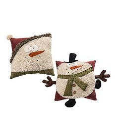 Look what I found on #zulily! Fuzzy Snowman Throw Pillow - Set of Two #zulilyfinds
