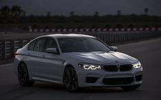 Download wallpapers 4k, BMW M5, 2018 cars, darkness, G30, white m5, headlights, german cars, BMW