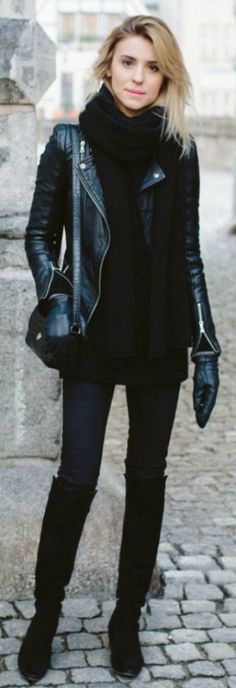 Leather jackets + perfect addition + all black outfit + over the knee boots + black jeans + oversized scarf + Katarzyna Tusk + leather jacket + just the right amount of glam. Bag: & Other Stories, Jacket/Boots: Zara, Trousers: Topshop. Black Boots Outfit, Winter Boots Outfits, Dress Boots, Outfit Winter, Fall Boots, Black Outfits, Fall Outfits, Fashion Mode, Trendy Fashion