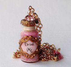 drink me bottle | Alice in Wonderland Drink Me Bottle Pendant by traceyanne on Etsy