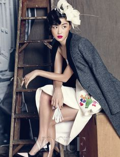 white #Dior #dress x pink lip :: Jun Ji Hyun for Vogue Korea, September 2013