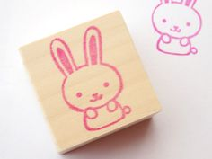 Rabbit rubber stamp Kawaii baby girl by JapaneseRubberStamps