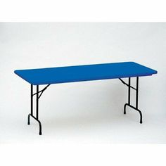 Bright Color Plastic Folding Table Color: Blue, Size: 30 x 72 by Correll, Inc.. $279.99. R3072-27 Color: Blue, Size: 30 x 72 Features: -Lightweight, waterproof blow-molded plastic top.-Tabletop resists damage, scratches and stains, even from gasoline or paint remover.-Strong steel ''ladder'' frame.-Stands at standard height of 29''.-Mar-Proof plastic foot caps.-Automatic lock-open mechanism.-Available in Green, Red, Blue and Yellow tabletops. Construction: -1'' 18 gauge steel...