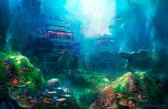 Deep in the sea, David Lee Fantasy City, Fantasy Kunst, Fantasy Places, Fantasy World, Fantasy Art Landscapes, Fantasy Landscape, Landscape Art, Hope Art, Underwater City