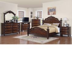 Beladora Poster Bed 6 Piece Bedroom Set in Caramel with Gold ...