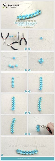 Diy cat eye necklace - beaded necklace tutorial from pandahall.com