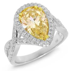 Gold Rings for Women, 3.22ct 18k Two-tone Gold Pear Shape Natural Fancy Yellow Diamond Ring