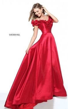 Cap Sleeve Sherri Hill 51030 Strapless Mikado Long Prom Dress