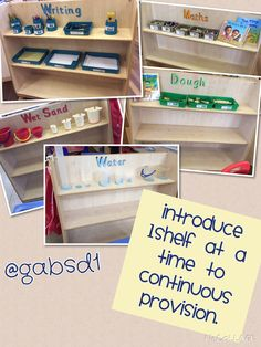 Continuous provision in early years 1 shelf added each week to train children To use resources correctly. Eyfs Classroom, Classroom Setup, Classroom Design, Classroom Displays, Year 1 Classroom Layout, Preschool Layout, Primary Classroom, Classroom Organisation, Classroom Management