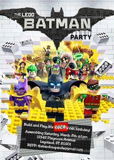 Batman and Robin Lego Invitation, Superhero Legos Party Invite