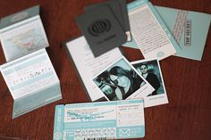 secret agent-themed invites for destination wedding... these are kinda funny.