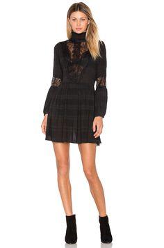 Ganni McKinney Pleat Lace Dress in Black | REVOLVE