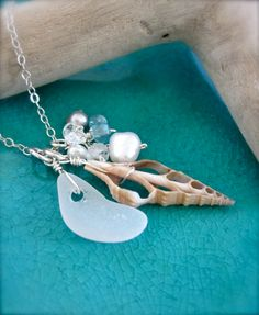 Seaglass and shell beach necklace Made in Hawaii by Tidepools