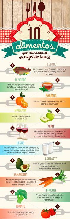 Alimentos antiaging para retrasar los signos de envejecimiento http://www.vitasalud.com/alimentos-antienvejecimiento/ #infografía