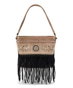 Loving this Tan & Black Crystal-Accent Fringe Tote on #zulily! #zulilyfinds