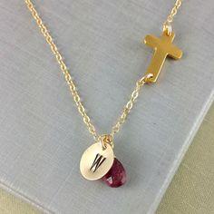 October Birthstone, Tourmaline, Sideways Cross Necklace, Personalized Initial