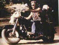 Sam Elliot on his Harley Motorcycle. He looks like my sweet cousin Jeff Nanney!
