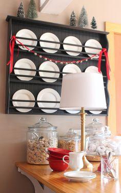 plate rack with sleigh bells and bottle brush trees, breakfast bar