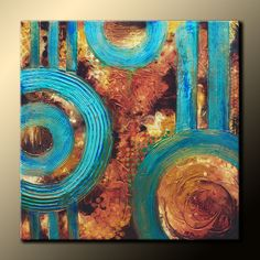 TEXTURED Abstract Painting Original 30x30 on Canvas. Earth Tones, Teal, Brown…