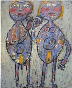 "thunderstruck9: "" Jean Dubuffet (French, 1901-1985), Ménage en gris, Outremer et Carmin, 1945. Oil on canvas, 100 x 81 cm. """