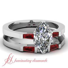 1 Ct Marquise Cut SI2 Diamond & Ruby Gleaming Engagement Wedding Rings Set GIA