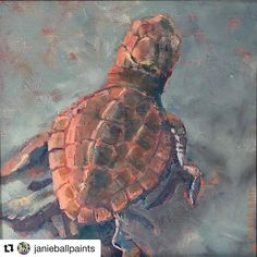 Its pretty exciting when an artist turns one of your photos into real art. Shoutout to @janieballpaints for this sweet turtle painting Maiden Voyage.