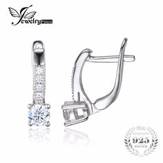 JewelryPalace 1ct Cubic Zirconia Clip Earrings 925 Sterling Silver Wedding Anniversary Jewelry For Women Fashion Party Gift