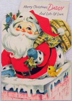 #1327 60s Gibson Santa Goes Down the Chimney-Vtg Diecut Christmas Greeting Card
