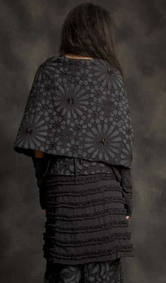 """Natalie's Dream Tied Wrap (Back) $1,680.00 - 100% organic medium-weight cotton caplet-style wrap.  Adorned with delicate glass beading, all-over stenciling, and intricate embroidery in our Facets pattern.  Tie closure.  One size.  Measures 21"""" x 48"""".  Free Shipping.  Made in the U.S.A - http://www.alabamachanin.com/natalies-dream-tied-wrap"""