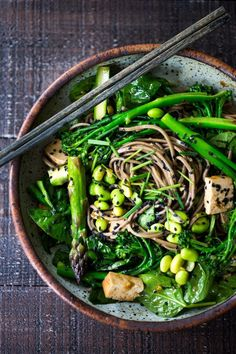 EAT CLEAN with these 20 simple Plant-Based Meals |JADE NOODLES loaded with seasonal veggies and a sesame dressing. | www.feastingathome.com