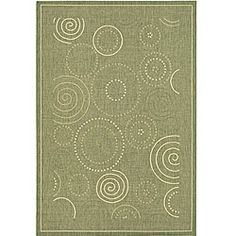 Indoor/ Outdoor Ocean Olive/ Natural Rug (6'7 x 9'6) $110