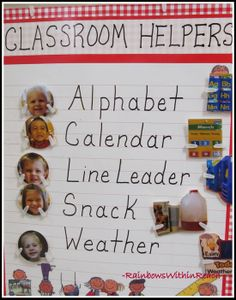 Preschool Classroom Helper Chart with Photos for Jobs I love that they use the child's picture instead of their name at first!.