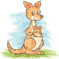 Wild animals by Toru Sanogawa, via Behance Kangaroo Drawing, Baby Drawing, Drawing For Kids, Kawaii Drawings, Cute Drawings, Animal Drawings, Window Drawings, Kangaroo Illustration, Drawing Clipart