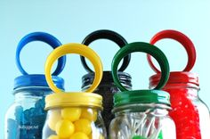 Olympics Rings Mason Jars olymp parti, candies, olymp ring, mason jars, candi jar, diy, ring candi, candy jars, olymp decor