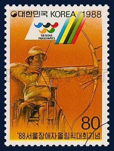Postage Stamps in Commemoration of `88 Seoul Paralympics, Archery, Sports, Orange, 1988 10 15, 88 서울장애자올림픽대회 기념, 1988년 10월 15일, 1550, 양궁, postage 우표
