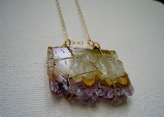 amethyst cluster wire-wrapped necklace