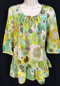 Liberty of London for Target Size XS Peasant Top Tunic Sunflower Print Boho #LibertyofLondon #Peasant #Any