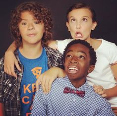 The Stranger Things kids - Gaten Matarazzo, Millie Bobby Brown, & Caleb McLaughlin. Only thing missing is Finn Wolfhard and Noah Schnapp from this pic. There are no words for how much I love these kids! They are so talented, kind, and loving to their fans!