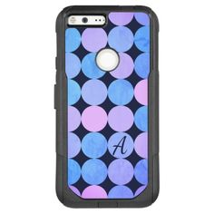 Blue Purple & Pink Circles Monogram OtterBox Commuter Google Pixel XL Case - monogram gifts unique design style monogrammed diy cyo customize