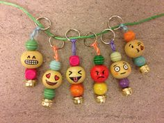 Emoticons wooden beads keyring