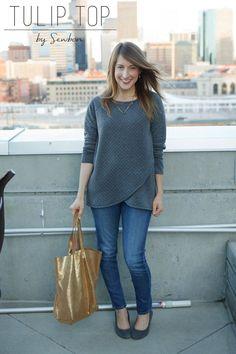 Sewbon sewn Tulip Top sweatshirt sewing pattern by Blank Slate Patterns