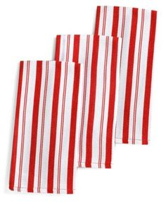 Martha Stewart Collection Basket Weave Red-Striped Kitchen Towels, Set of 3