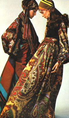 Folk inspired dresses, 1970s. Fashion photograph by James Moore.