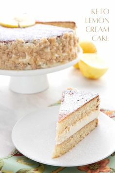 Titled image of keto lemon cream cake with a slice sitting in front of the main cake. Low Carb Deserts, Low Carb Sweets, Healthy Sweets, Healthy Snacks, Gluten Free Desserts, Dessert Recipes, Cake Recipes, Lemon Cream Cake, Almond Flour Cakes