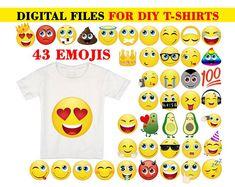 Emoji Shirt 15 Pack Printable Emoji iron on transfers for Emoji Birthday Shirt, Emoji Shirt, Birthday Shirts, Iron On Transfer, Transfer Paper, Smile Design, Emoji Faces, T Shirt Transfers, Yellow T Shirt