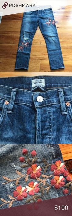 Like New Citizens of Humanity Embroidered Denim Like New Citizens of Humanity Embroidered Denim.  Worn once, mint condition. Premium Vintage denim in straight leg crop, with light distressing and floral embroidered detail.  Button closure with back pocket detail. Relaxed fit, novelty denim. Citizens Of Humanity Jeans