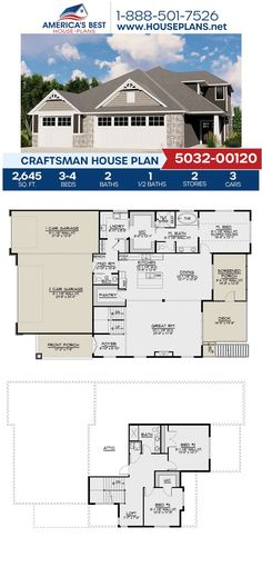 Covered in exclusive Craftsman details, Plan 5032-00120 offers 2,645 sq. ft., 3-4 bedrooms, 2.5 bathrooms, a loft, a mud room, and a media room. Learn more about this plan on our website today!