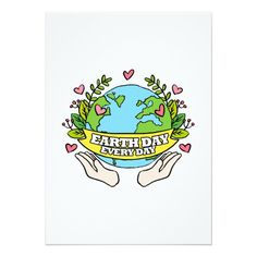 Earth Day Every Day Save The Planet Card Custom Office Party Invitations #office #partyplanning