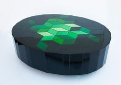 Gorgeous table by Sam Orlando Miller  UNTITLED TABLE 1  Many shades of emerald green mirror and black glass H 42 x W 91 x L 127 cm Unique 2013