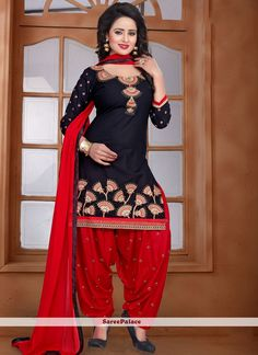 Appealing Cotton   Embroidered Work Punjabi Suit